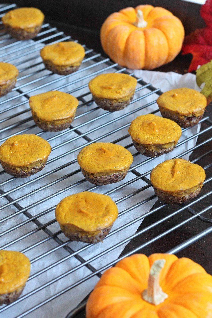 Healthy (and paleo) mini pumpkin pies. Sweetened with maple syrup and honey, with a coconut pecan crust