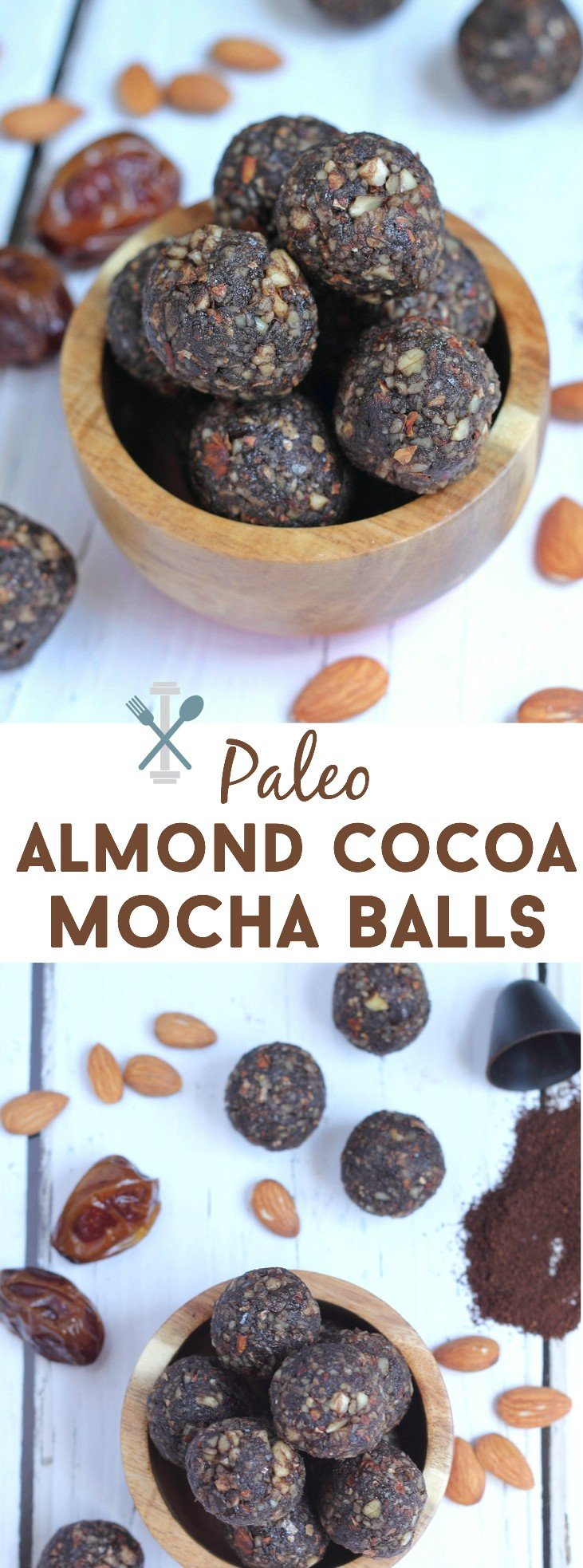 These paleo and vegan almond cocoa mocha balls are a sweet, healthy treat with a nice hint of cocoa and coffee flavor. A great portable snack, on-the-go breakfast, or post-workout fuel!