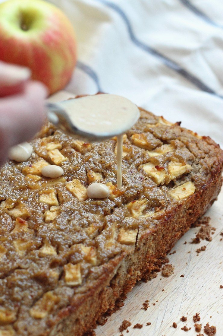 The caramel maple glaze on this apple bread is dairy free and refined sugar free. Completely irresistible!