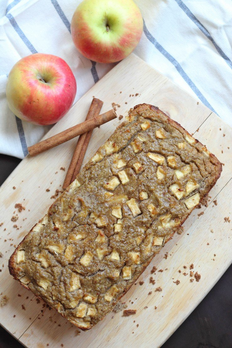 This paleo apple bread is comprised of a mix of almond flour, coconut flour, diced apples, maple syrup and apple spices. The perfect healthy fall treat!