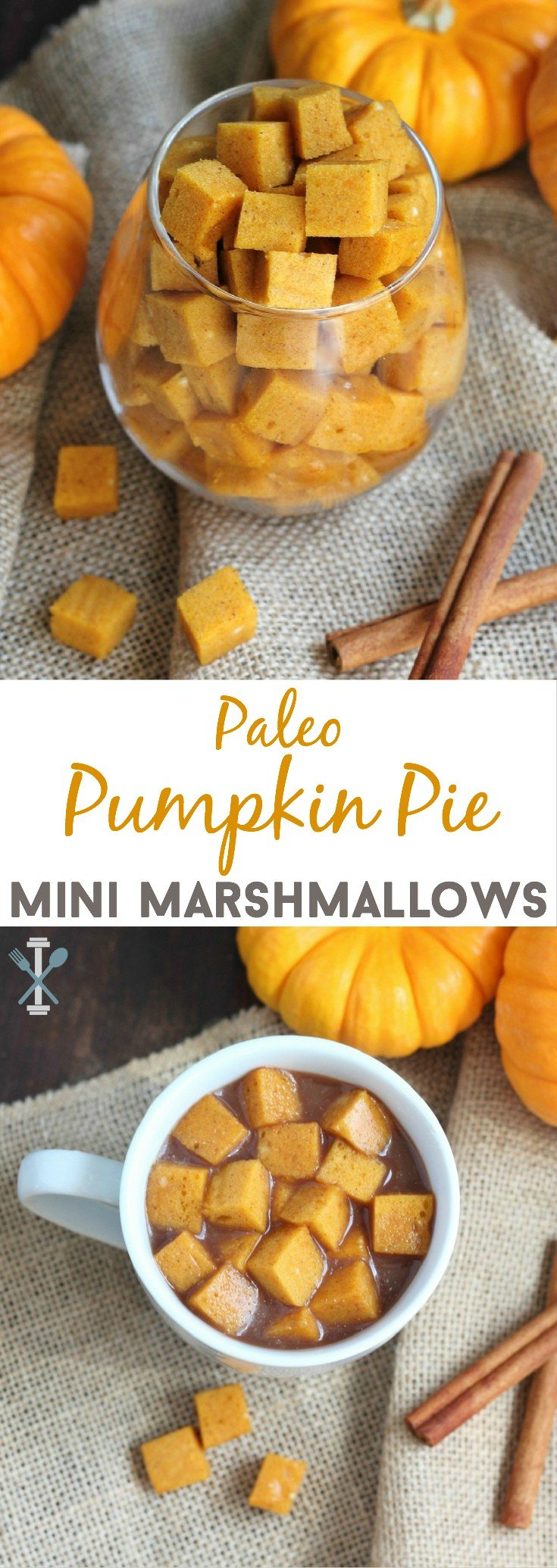 A healthy take on a favorite fall flavor. Put these paleo pumpkin pie mini marshmallows in your hot chocolate, coffee, or eat on their own. Made with Vital Proteins collagen protein. #sponsored