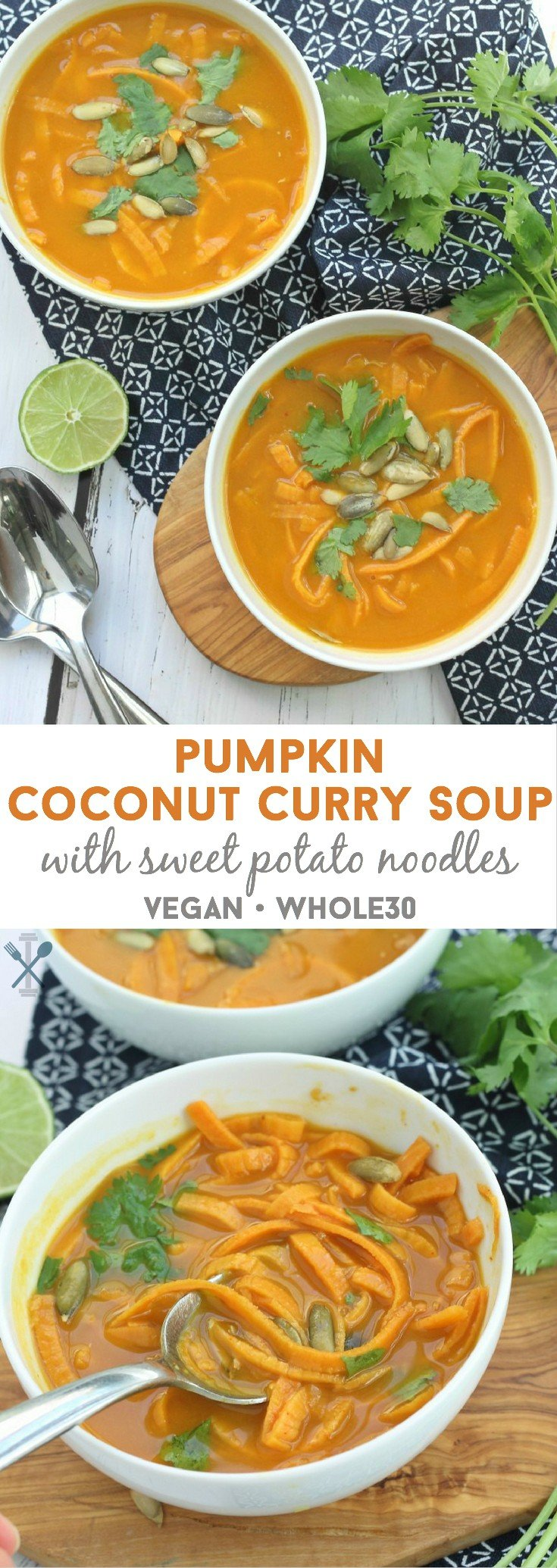 Paleo, Whole30 complaint, Vegan - the perfect soup this fall made with sweet potato noodles and a sweet and savory pumpkin coconut curry