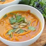 This whole30 compliant soup is perfect for fall. The sweet potato noodles makes it hearty and filling!