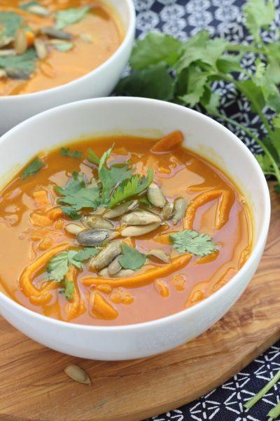 Pumpkin Coconut Curry Soup with Sweet Potato Noodles (whole30)