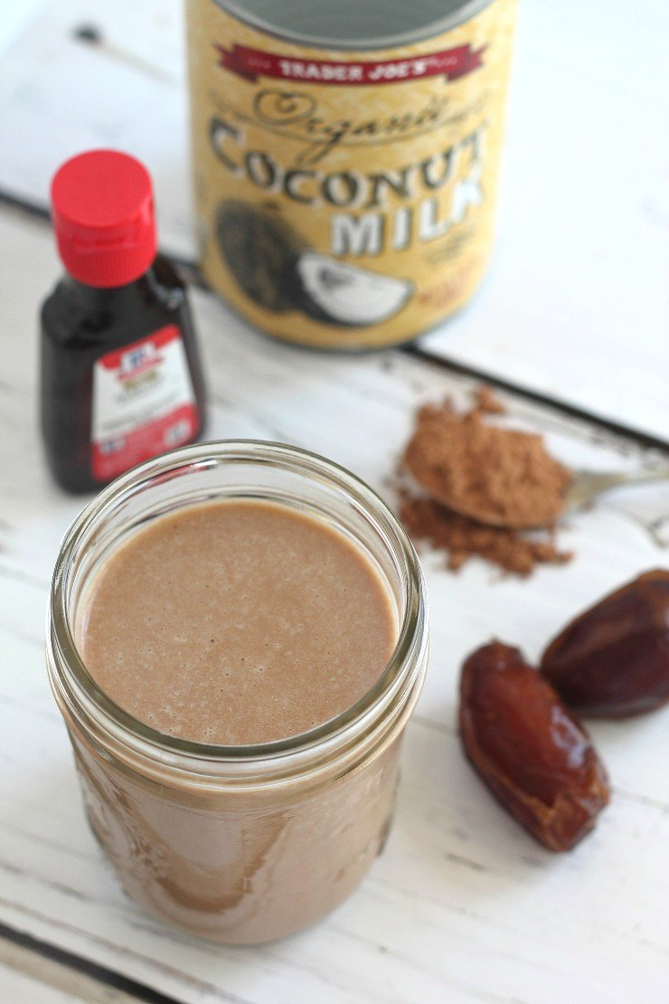 Four ingredients and five minutes, that's all you need to make this paleo & vegan Snickers coffee creamer