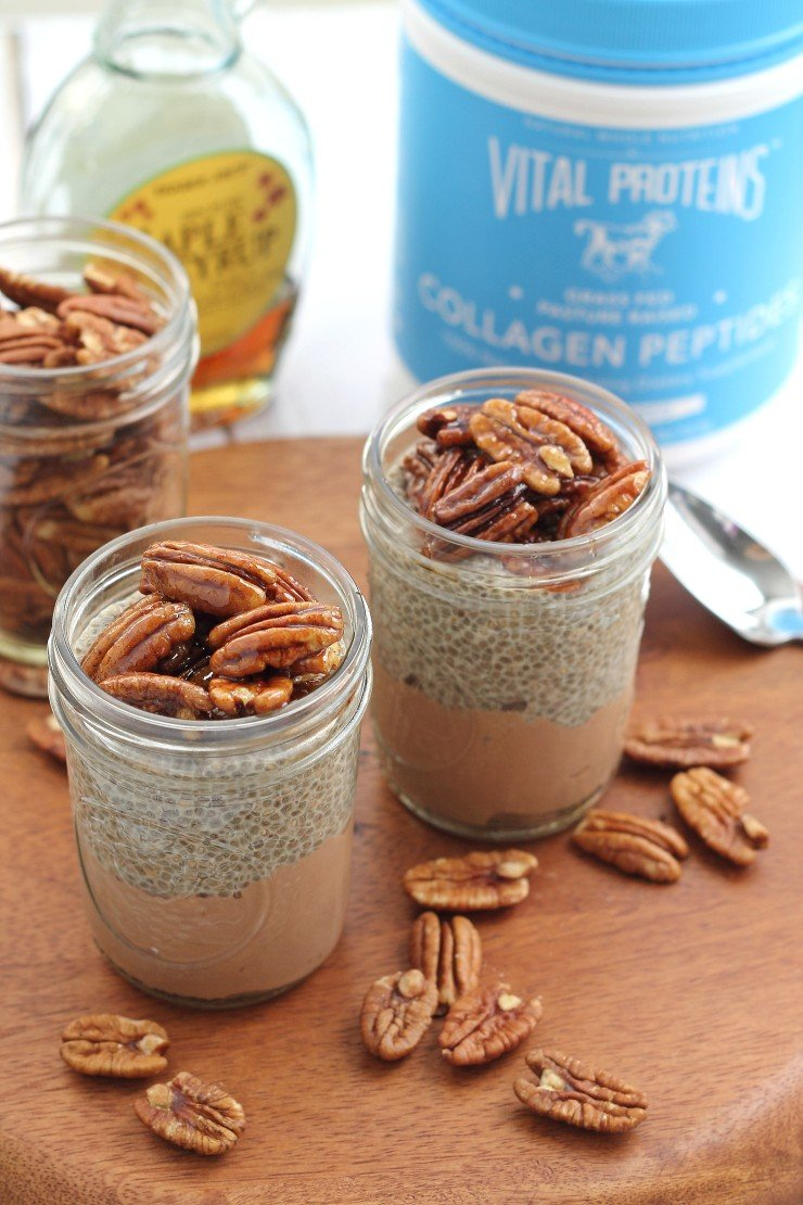 Chia seed pudding parfaits inspired by chocolate pecan pie, with Vital Proteins collagen! #partner