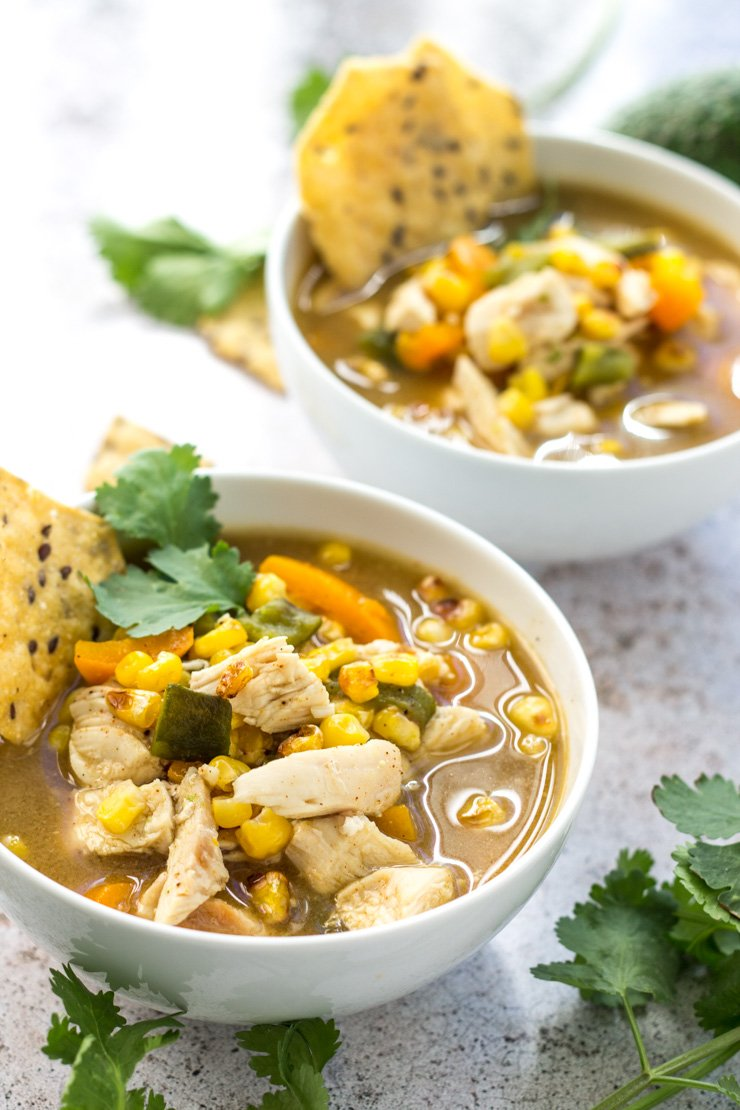 Seriously so full of flavor - this fiesta chicken soup is made with roasted jalepenos, peppers, corn, and chicken.