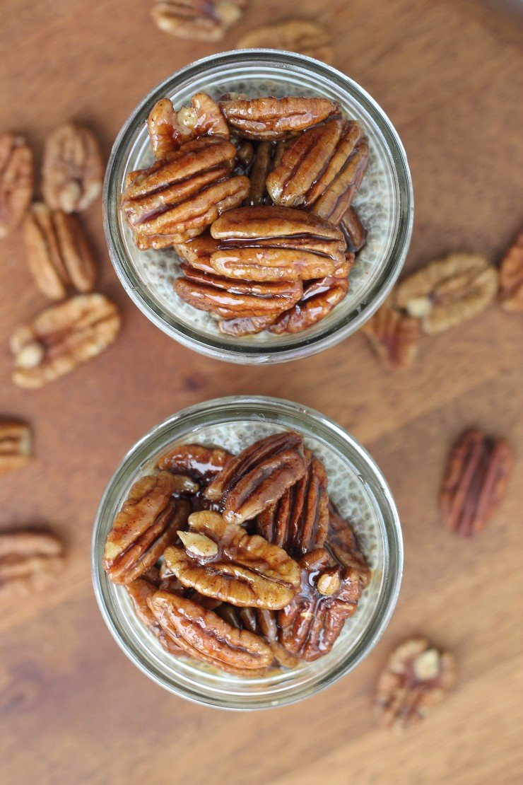 The ultimate, prettiest, tastiest chia seed pudding parfaits. These chocolate chia pecan pie parfaits are vegan and paleo