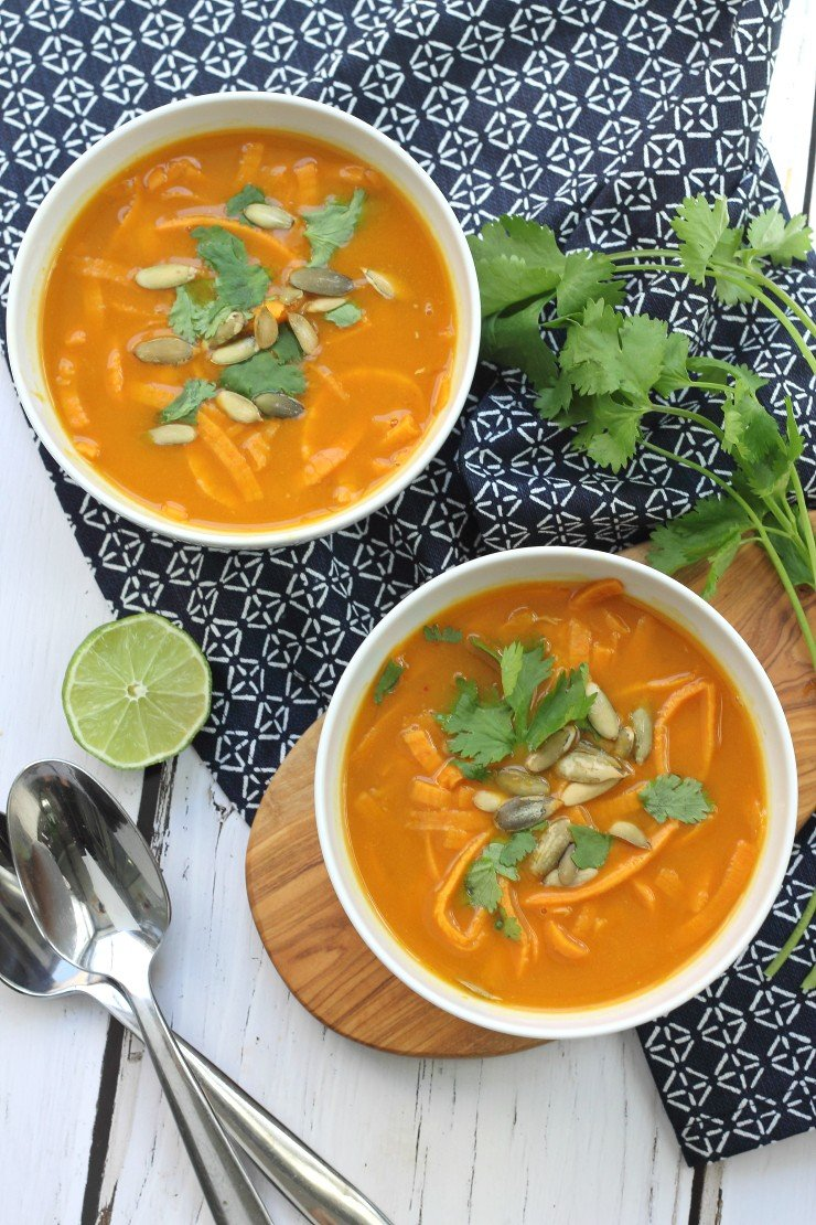 Easy to prepare and delicious to eat - this paleo and whole30 pumpkin coconut curry has big flavor. With an added bonus of sweet potato noodles!