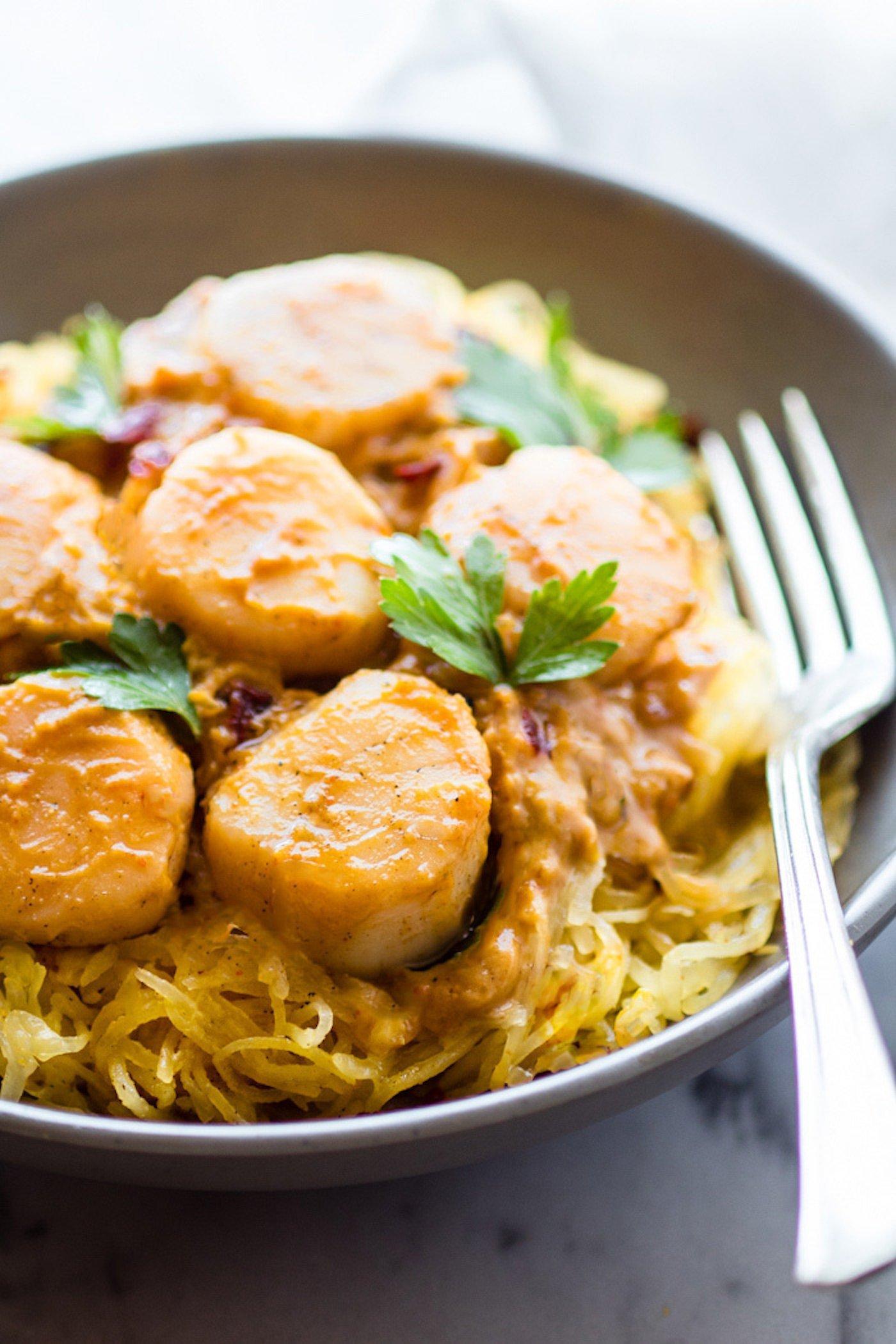 Seafood pumpkin spaghetti squash pasta