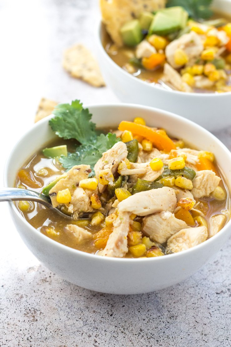 This fiesta chicken soup is made with veggies, chicken, and avocado. THIS is the soup you have to try. Healthy, low-carb, and made with all real-food ingredients. Paleo and Whole30 option