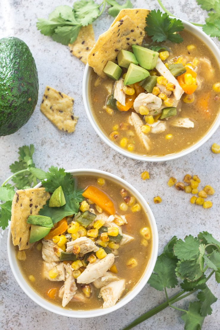 This fiesta chicken soup is the perfect low-carb, gluten-free meal with all natural ingredients. With a special twist that makes it taste like it shouldn't be healthy!