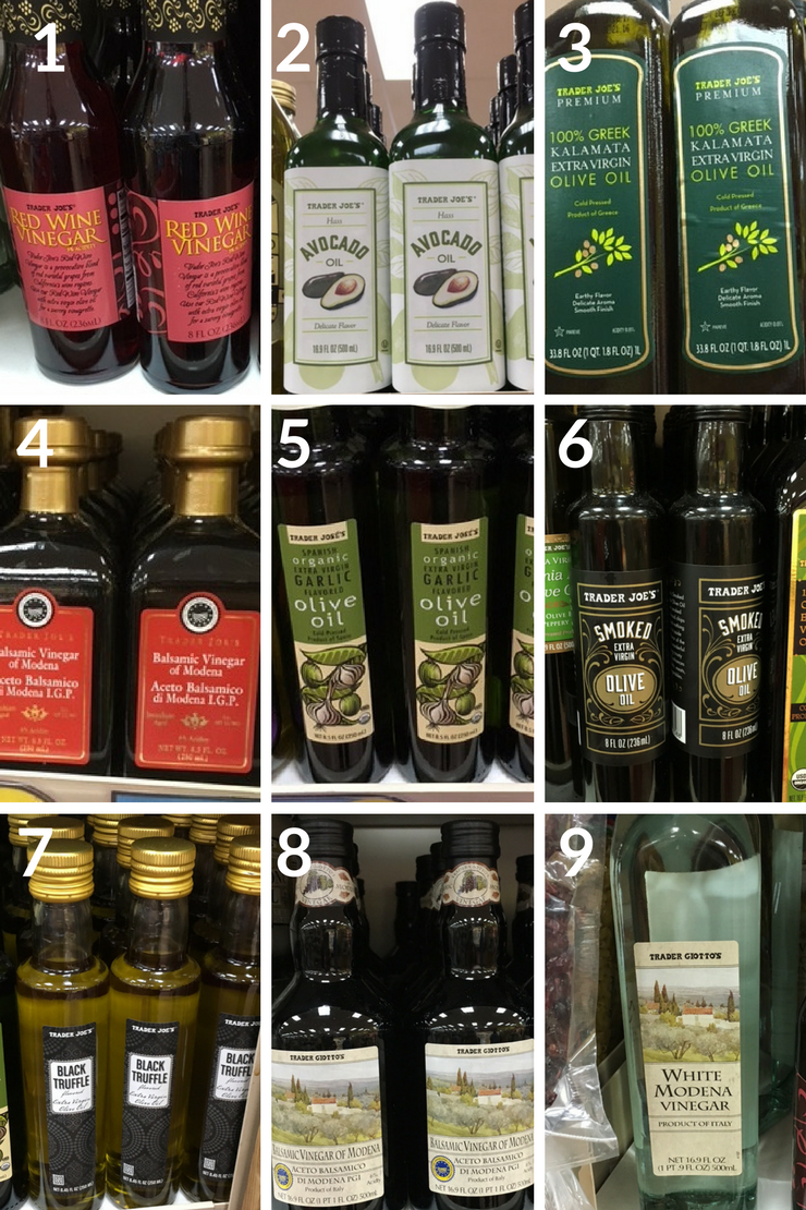 The ultimate Trader Joe's Whole30 Shopping List - oils/vinegars