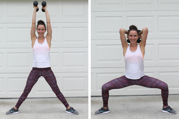 A total body workout you can do in your garage! Sumo Squat Tricep Dips