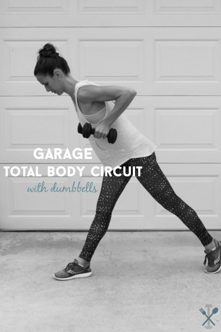 Garage total body circuit with dumbbells
