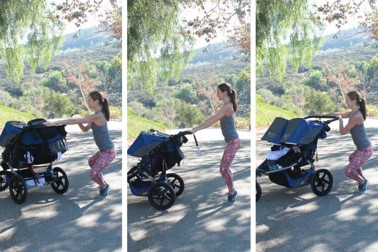 This moving barre stroller workout is THE barre-inspired stroller circuit to do! Angled Thigh Pulses