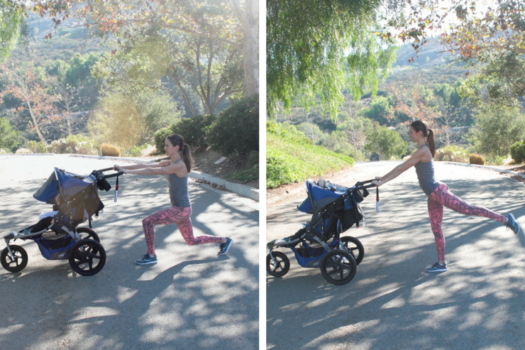 This moving barre stroller workout is THE barre-inspired stroller circuit to do! Moving Lunge Lifts