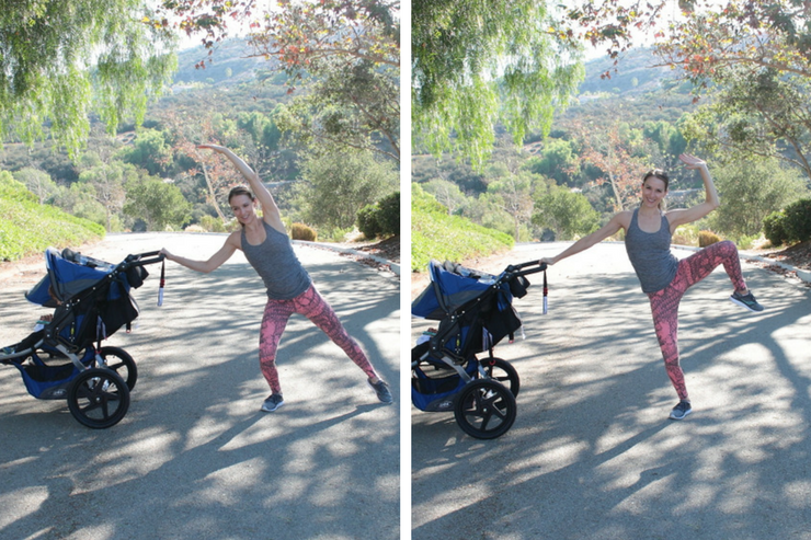 This moving barre stroller workout is THE barre-inspired stroller circuit to do! Standing Oblique Pushes
