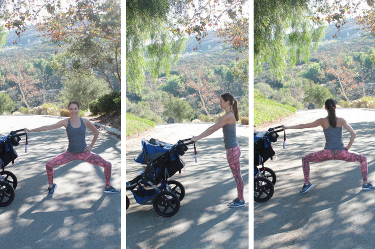 This moving barre stroller workout is THE barre-inspired stroller circuit to do! Moving Sumo Squats