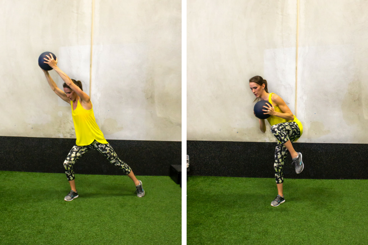 Medicine ball cardio workout - standing cardio crunches