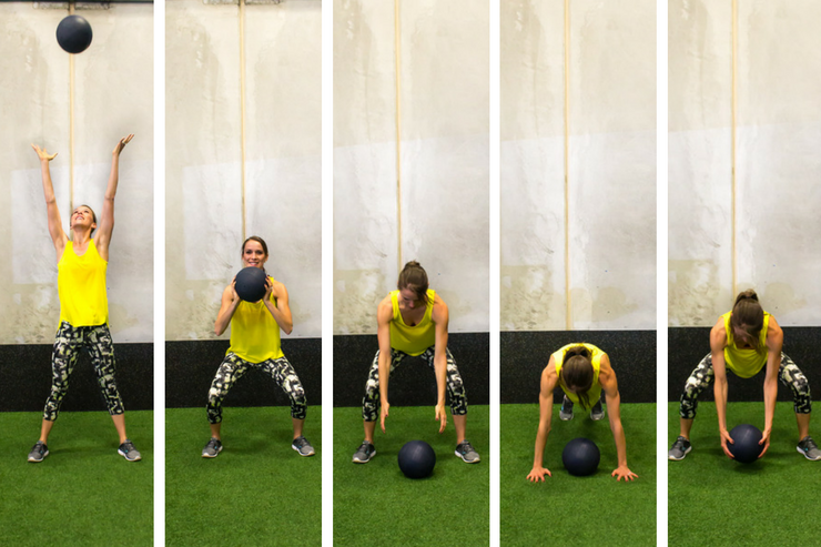 Medicine ball cardio workout - medicine ball burpees