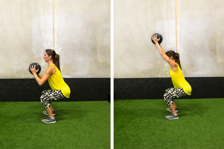 Medicine ball cardio workout - chair sit overhead press