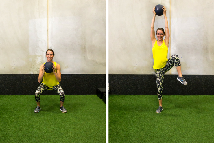 Medicine ball cardio workout - squat to lifted leg shoulder press