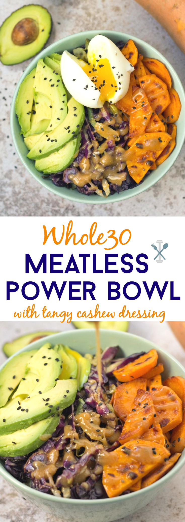 A nutritious power bowl that's Whole30 compliant, quick to make, and meatless! Sautéed cabbage, sweet potatoes, and avocados drizzled in a tangy cashew butter dressing. Add an egg on top for the perfect Whole30 lunch!