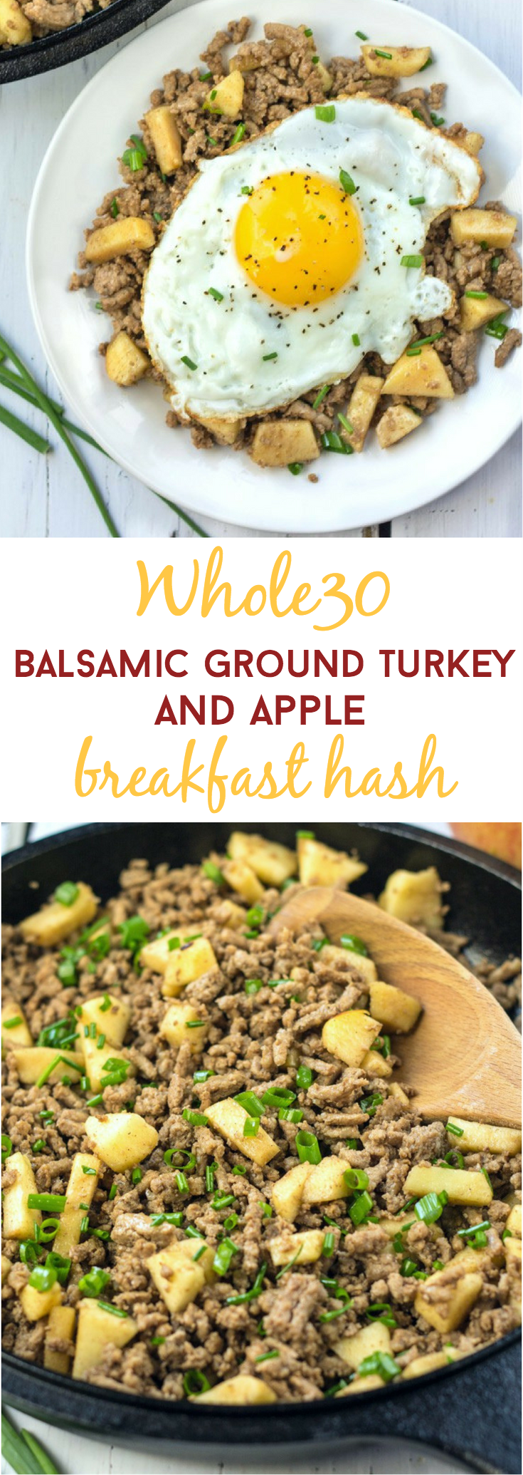 Whole30 compliant turkey & apple breakfast hash is perfect for a lean, protein-packed breakfast! Infused with the flavors of balsamic, cardamom, and sweet apples