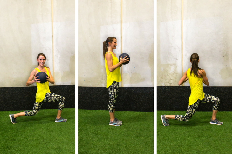 Medicine ball cardio workout - walking lunge twists