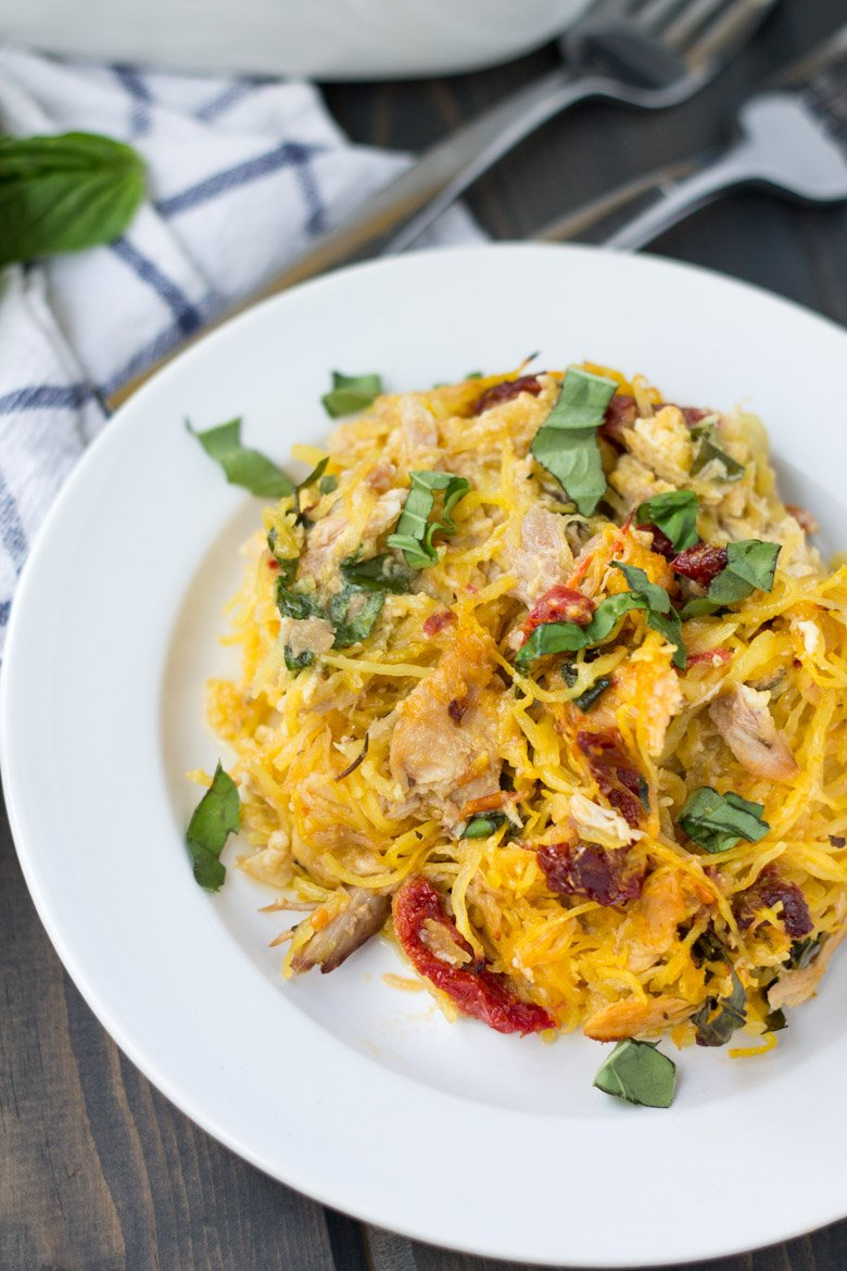 Spaghetti squash made in the microwave, with only 6 ingredients. Tuscan chicken spaghetti squash bake