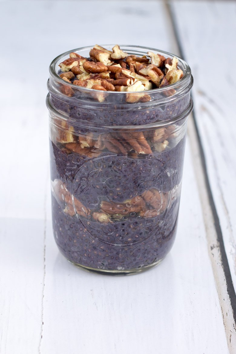 Blueberry Pie Chia Pudding - paleo, vegan, and the perfect portable healthy breakfast!