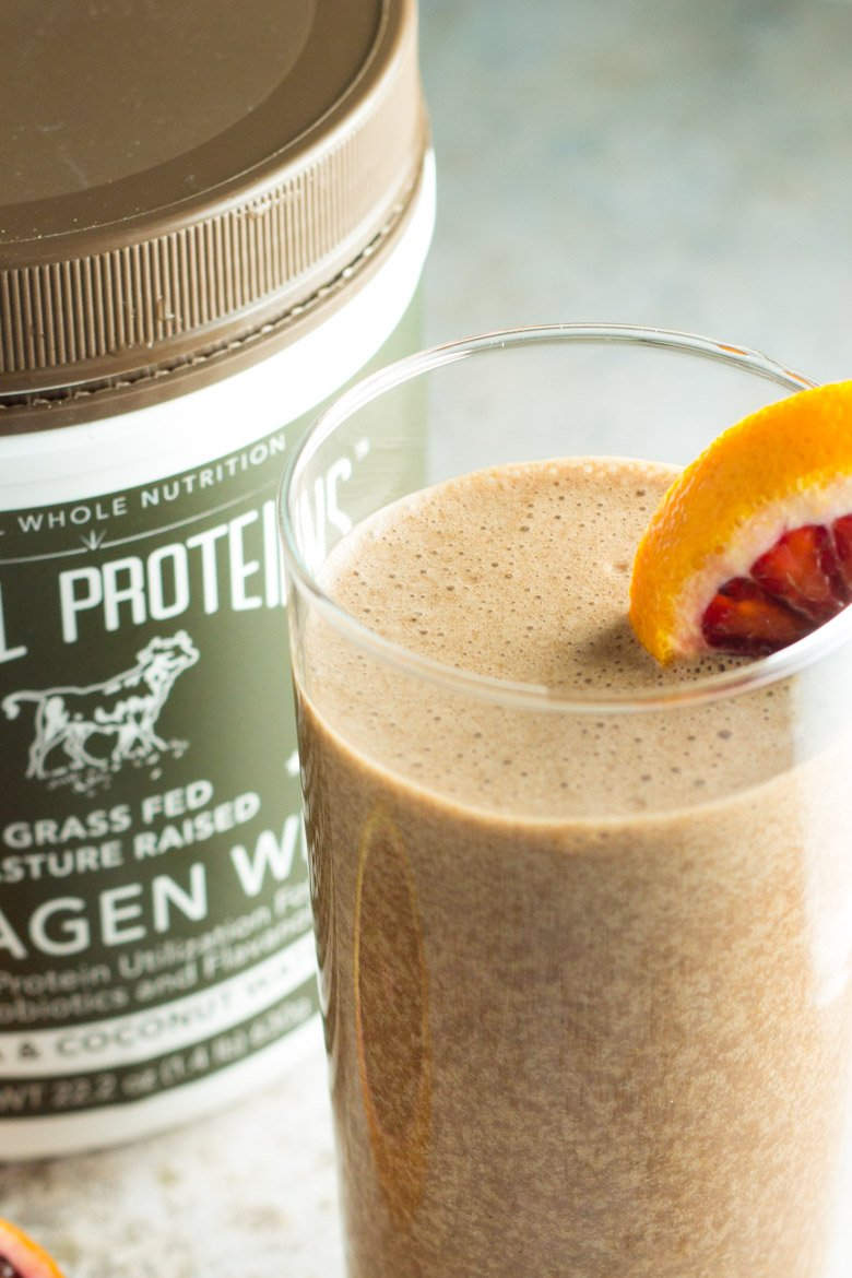 An amazing combo of chocolate collagen powder and blood oranges - with coconut milk to make this the thickest, creamiest recovery shake ever!