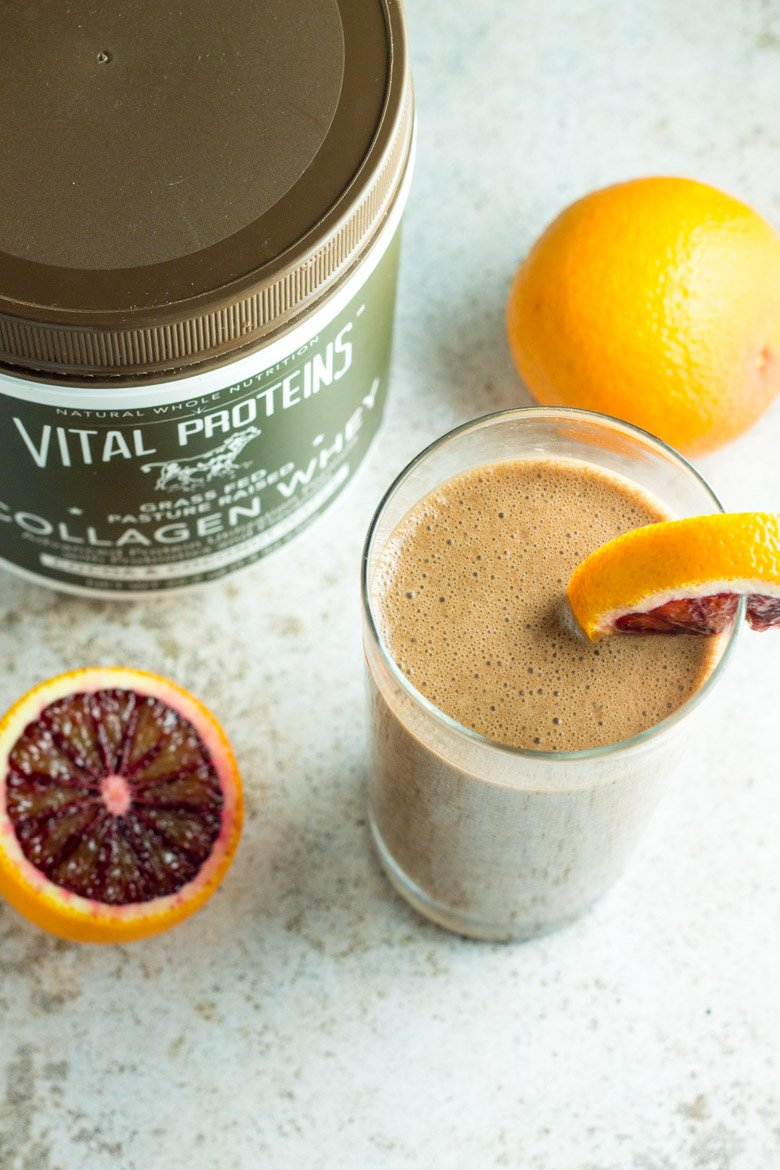 This blood orange chocolate recovery shake is bursting with cocoa and citrus flavor - with lots of protein and joint-healthy collagen