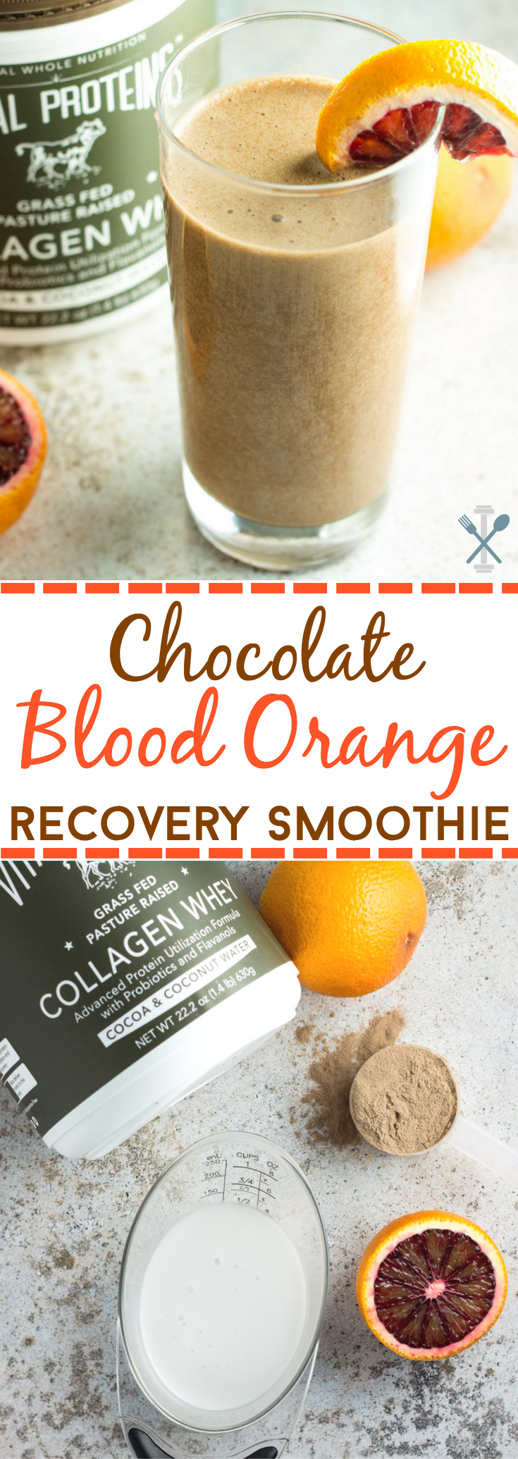 This protein and collagen-packed chocolate blood orange recovery shake is perfect for post-workouts and made with only 3 ingredients! including Vital Proteins Collagen Whey #ad