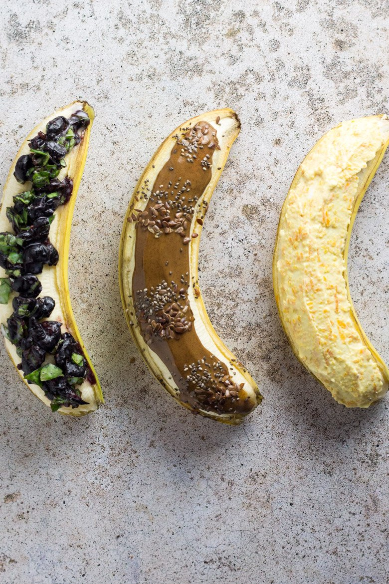 Kid-friendly breakfast that's healthy and easy! Try these breakfast banana boats. Fun, easy, and nutritious!