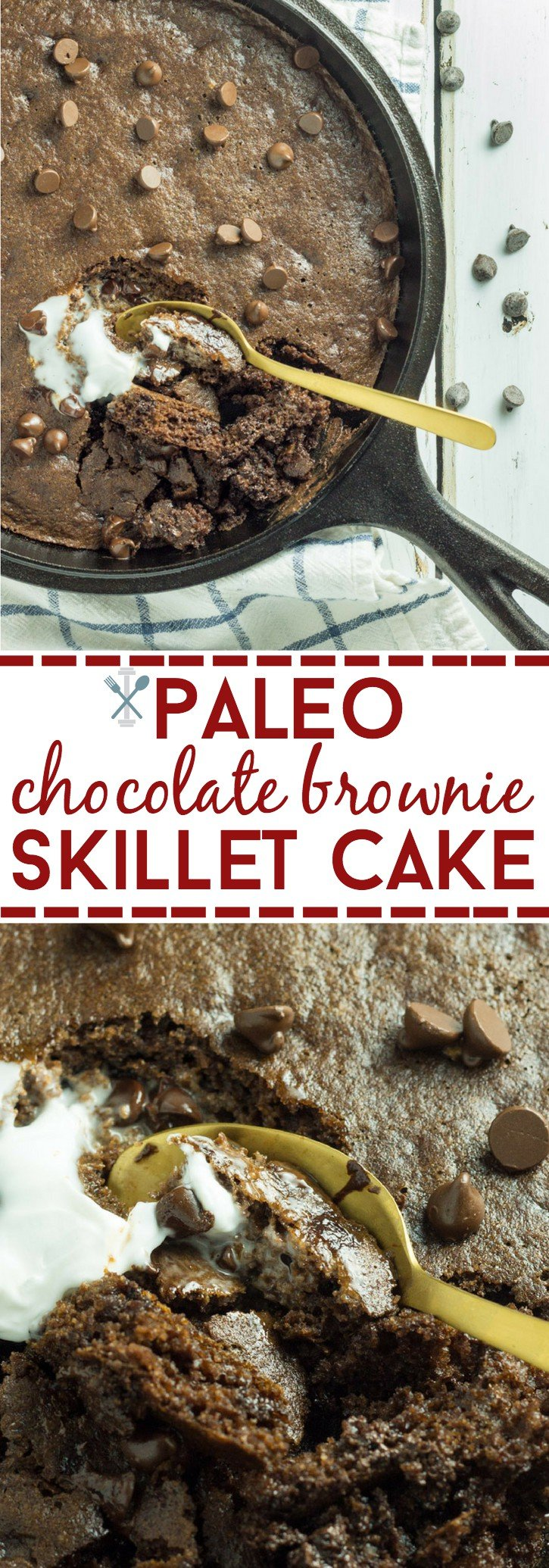 A gluten-free, dairy-free, paleo chocolate skillet cake made in under 30 minutes. Naturally sweetened and totally decadent!