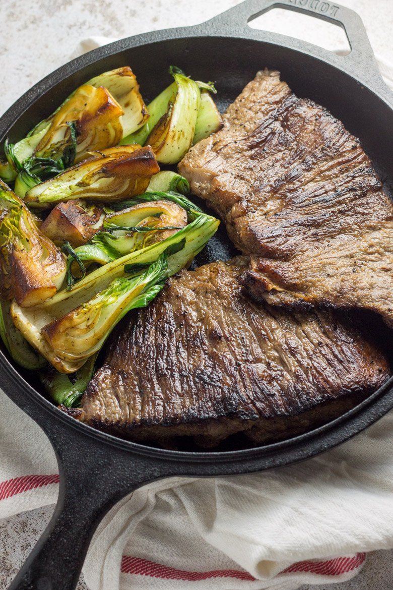 This pan seared flat iron steak is the perfect 20 minute healthy dinner for two. Paleo and Whole30