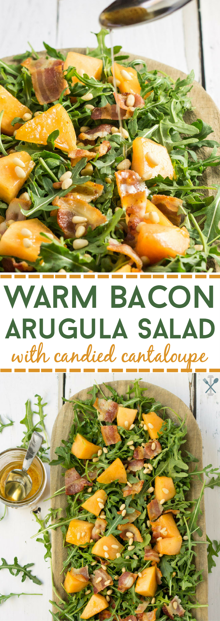 THE BEST bacon salad - paleo and made with all real-food ingredients. This arugula salad is packed with crispy bacon, honey glazed cantaloupe, and crunchy toasted pine nuts. And made in under 20 minutes!