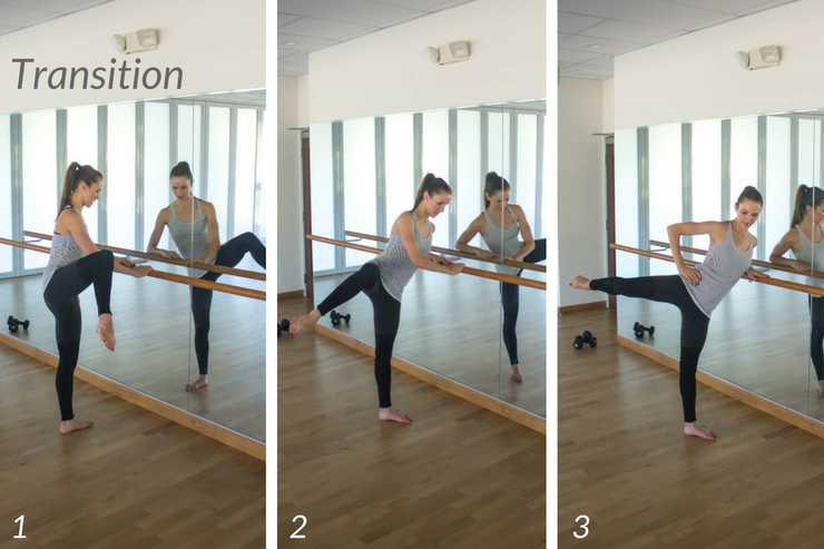 10 minute express barre workout you can do at home! Curtsy lunge to knee raise transition