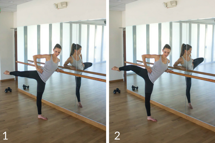 10 minute express barre workout you can do at home! Side arabesque leg lifts