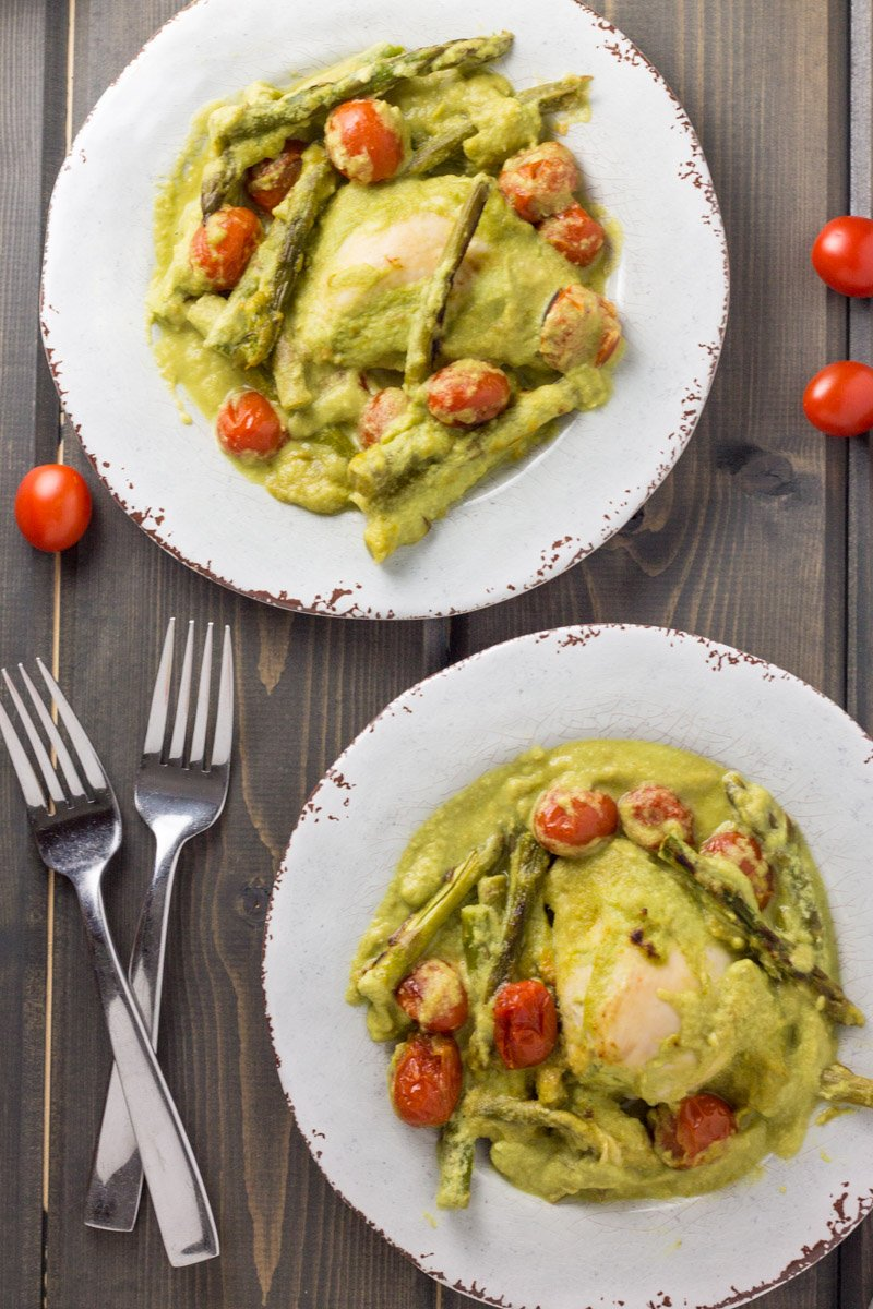 Healthy, whole30 chicken baked in a creamy asparagus sauce. The perfect comfort meal!