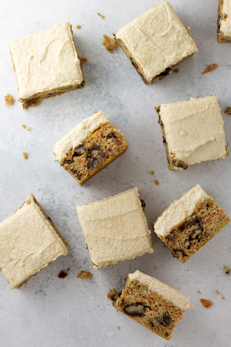 Healthier carrot cake - these paleo carrot cake bars with creamy cashew frosting are easy to make and easier to eat!