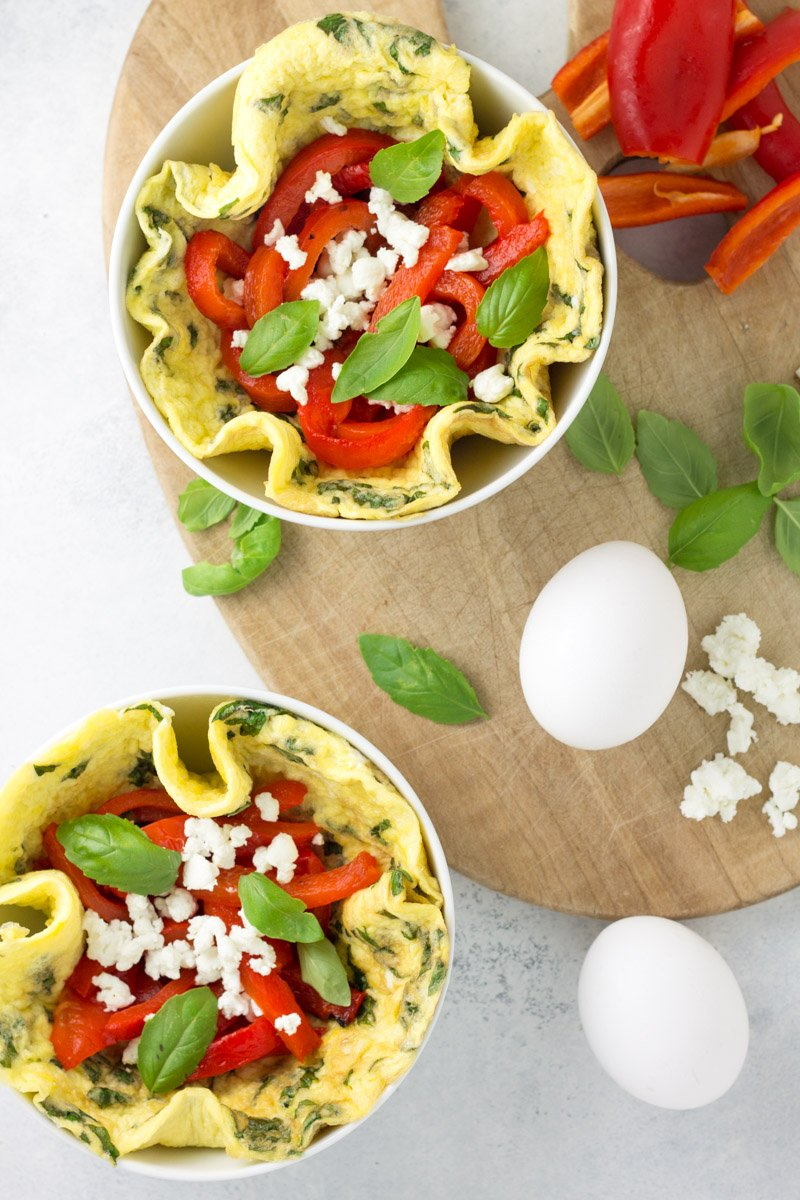 A healthy, protein-packed way to start the day! Filled with fresh flavors like basil, roasted red pepper, and creamy goat cheese.