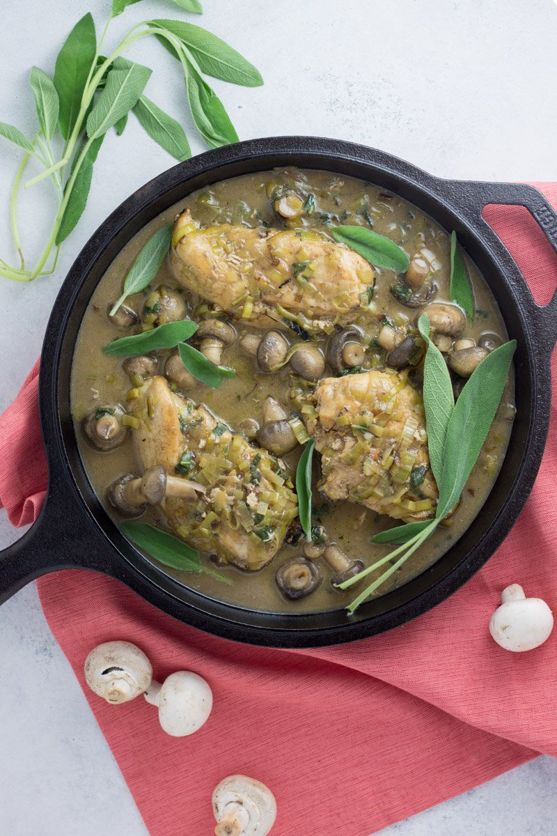 In 30 minutes or less, this one pot creamy Whole30 mushroom and sage chicken can be made with little to no prep. Gluten free, dairy free, paleo