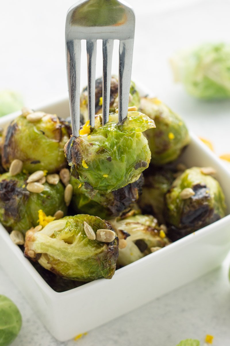 Orange and balsamic marinade to give these grilled brussels sprouts some major flavor. Whole30 and paleo!