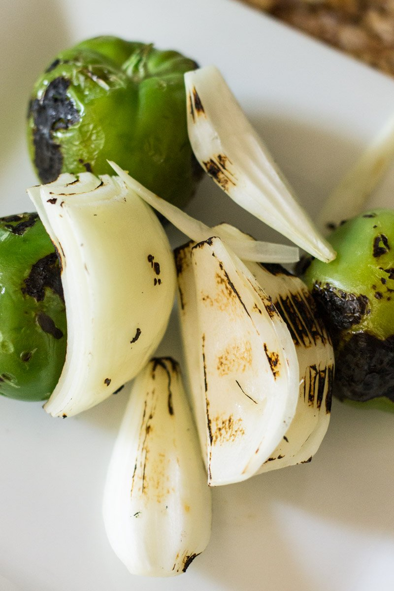Roasted vegetables for tomatillo watermelon salsa