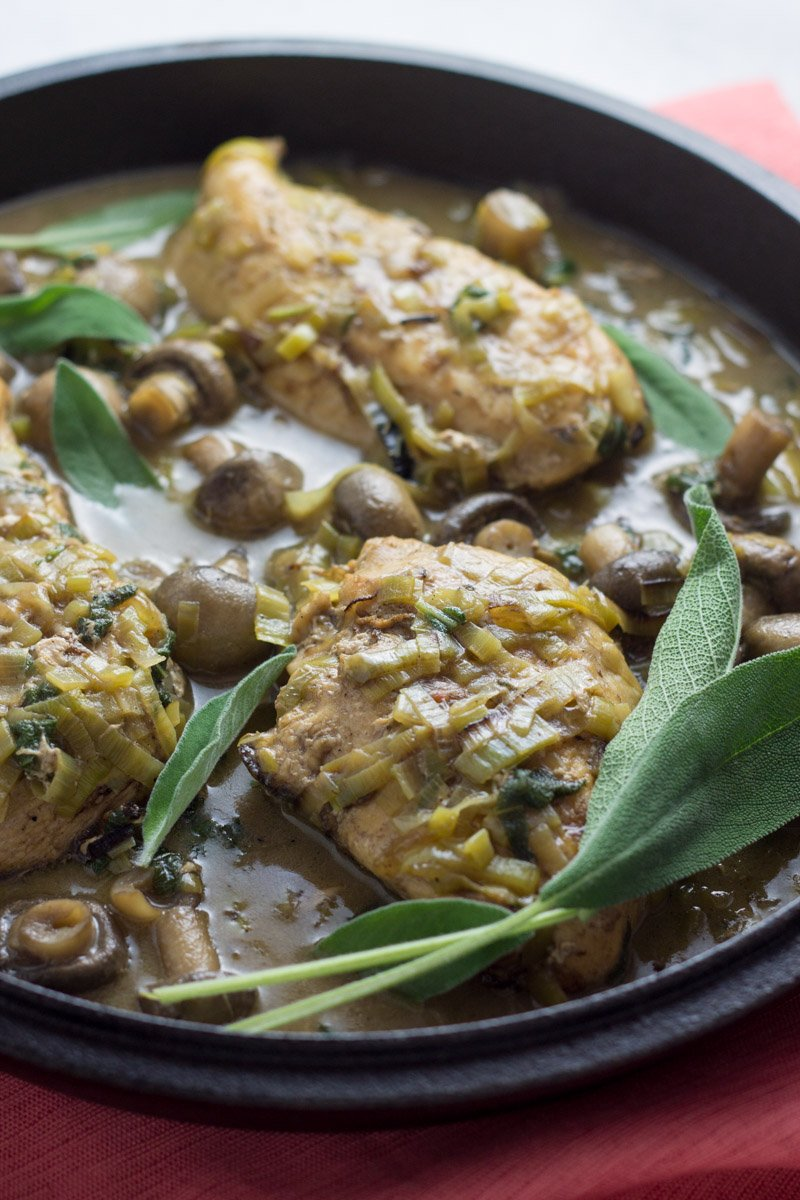 Chicken, leeks, sage, and mushrooms make this one pot meal a true winner. Paleo and Whole30 compliant