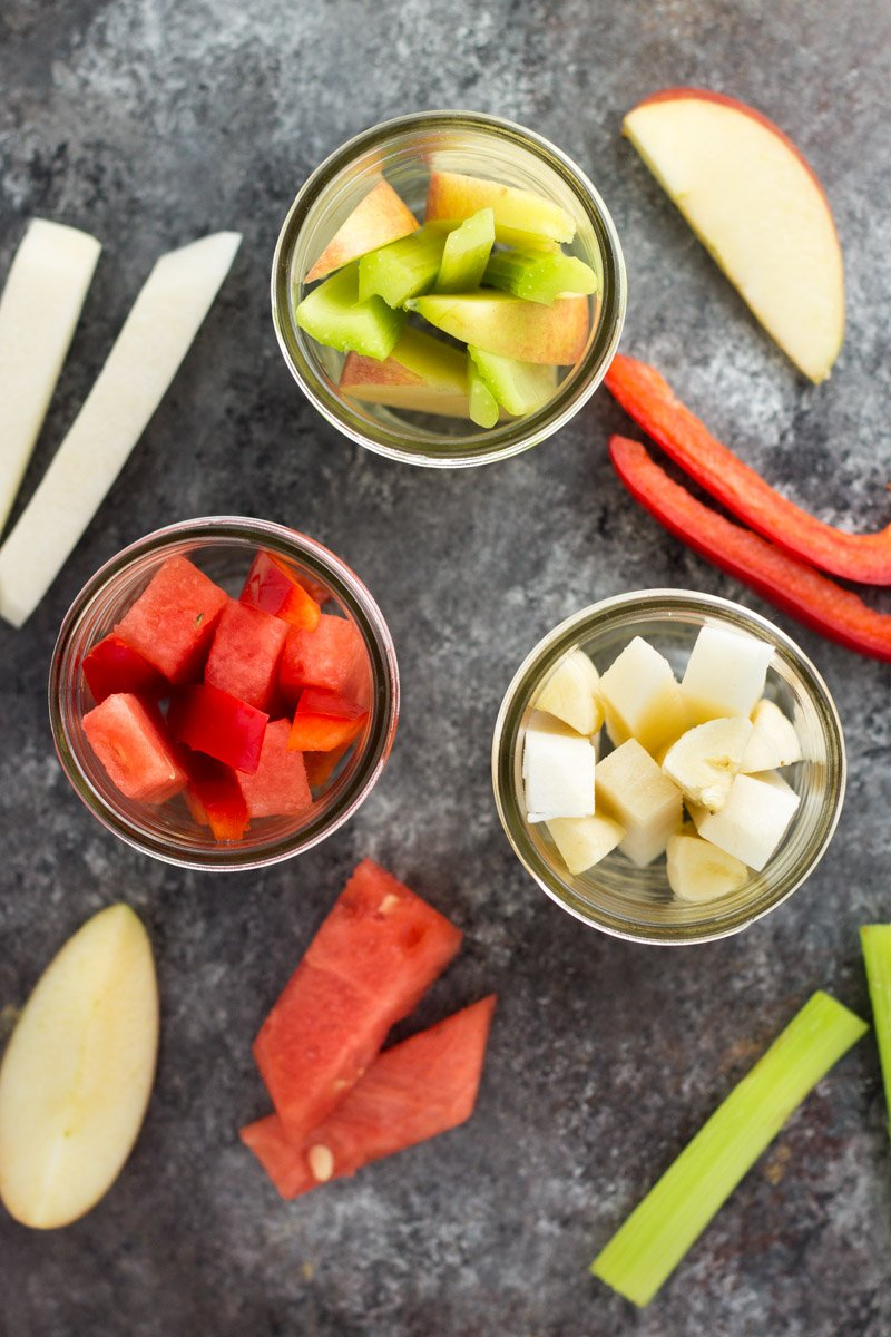 These portable, fresh fruit & veggie snack pack ideas are a new way to get your kids to eat veggies! Easy, fun, and packed with nutrients
