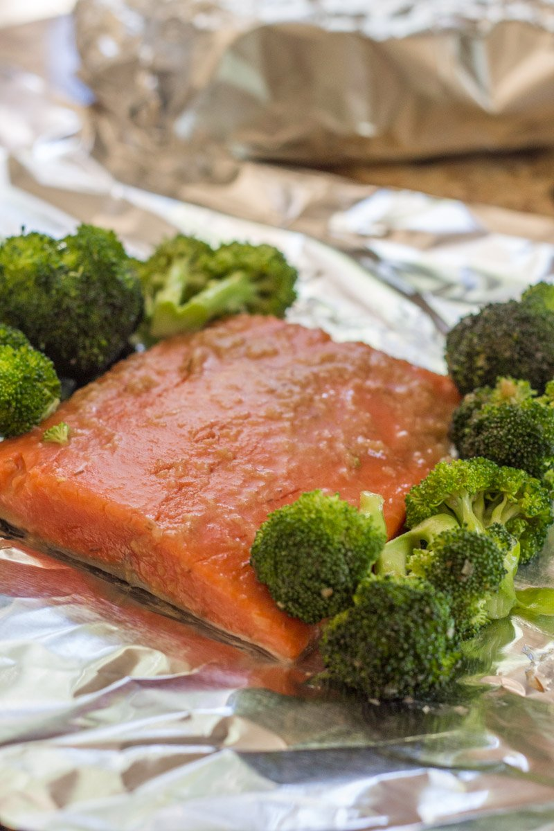 Salmon in foil - prepped and ready to grill for this sweet onion teriyaki recipe